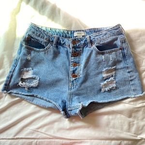 FOREVER 21 Distressed High Waisted Denim Shorts